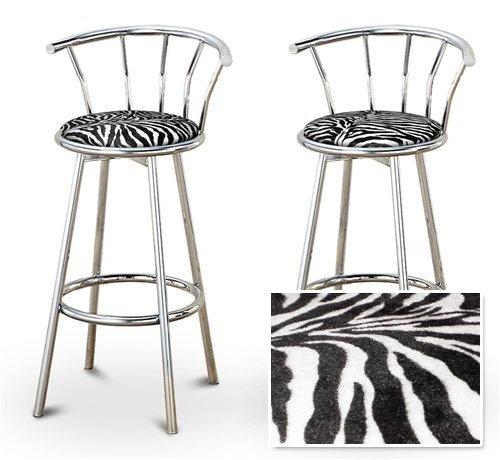 2 Zebra Animal Print Specialty Custom Chrome Barstools