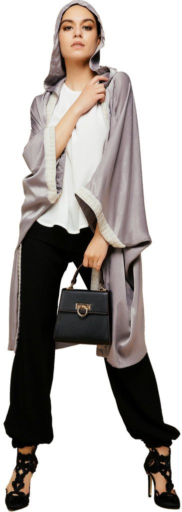 YI HENG MEI Women's Elegant Modest Muslim Islamic Silk Open Front Abaya Jilbab Coat with Hood,Sliver Gray
