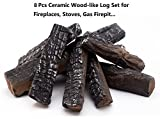 Hmleaf 8 Small Pieces Set Wood-like Ceramic Fireplace Logs for Gas Ethanol,Fireplaces, Stoves, Firepits