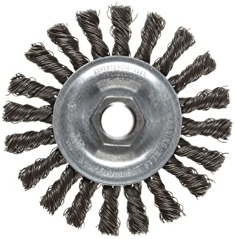 "Weiler Vortec Pro Wire Wheel Brush, Threaded Hole, Carbon Steel, Partial Twist Knotted, 4"" Diameter, 0.020"" Wire Diameter, 5/8-11"" Arbor, 20000 rpm"