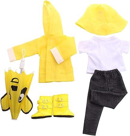 Uteruik Pantalones y Paraguas Accesorio de Disfraces Juego de 6 Piezas Chubasquero para mu/ñecas de 46 cm Camiseta Ropa para mu/ñecas Americanas Gorro de Lluvia