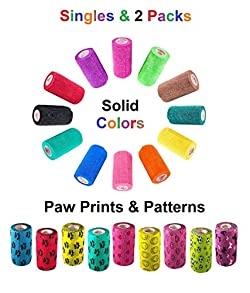 Vet Wrap Rap Tape (Assorted Colors, Paw Prints, Patterns) (Single or 2 Pack) (2, 3, or 4 Inch x 15 feet) Self Adhesive Adherent Adhering Cohesive Flex Self Stick Bandage Grip Roll Dog Cat Pet Horse