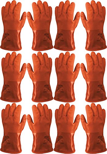 Atlas Showa - Small (24-Pair) - Cold Weather Double-Dipped PVC Freezer Work Gloves with Insulated Acrylic Liner & Rough Grip - Orange - 460 by Atlas (Image #6)