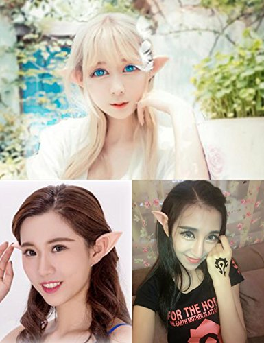 [Elf Ears, Soft Latex Fairy Pixie Elf Ears Cosplay Masquerade Party Accessories LARP Halloween Party Pointed Prosthetic Tips Ear ( 1 Pair ) (Large)] (Bud Man Costume)