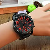 Amyove New Unisex Women Men Big Dial Silicone Strap Quartz Sport Wrist Watch Students Red