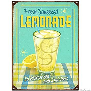 Retro Planet Fresh Squeezed Lemonade Metal Sign