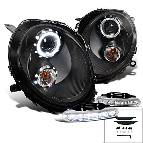 Black Cooper Projector Headlights Driving