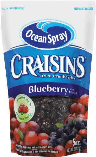 Ocean Spray Craisins Sweetened Dried Cranberries, Blueberry, 5-Ounce (Pack of 6)