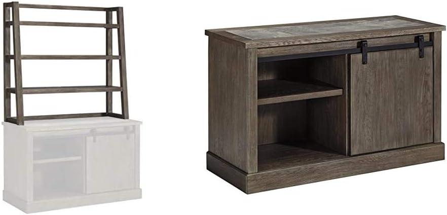 Ashley Furniture Signature Design - Luxenford Home Office Desk Hutch + Luxenford Large Credenza Grayish Brown
