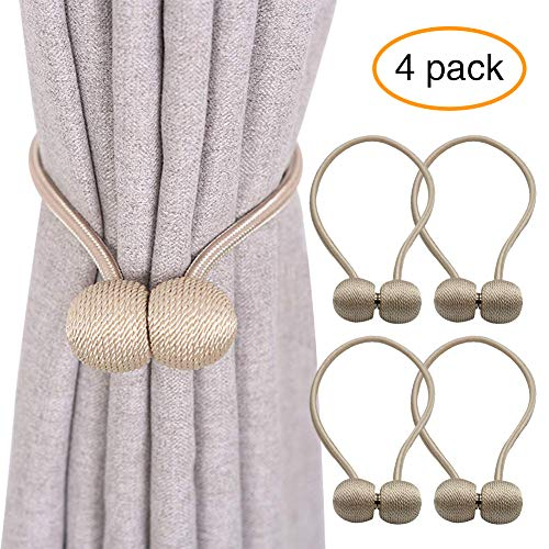 YOBAYE Magnetic Curtain Tiebacks, 4 Pack Drape Tie Backs Decorative Curtain Rope Holdbacks for Home Kitchen Office Window Drapes, No Drilling & Holes Required,Beige