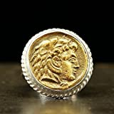 Alexander the Great Ancient Greek Art Signet Coin Ring 925 Sterling Silver 24K Yellow Gold Vermeil Handcrafted Hammered Artisan Roman Art