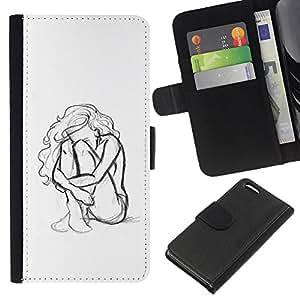 A-type (Woman Girl Depression Sad Heartbreak) Colorida Impresión Funda Cuero Monedero Caja Bolsa Cubierta Caja Piel Card Slots Para Apple iPhone 5C