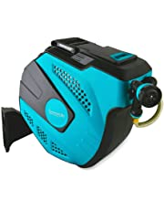 SereneLife Retractable Garden Hose with Mountable Auto Rewind Reel Box Housing & 7 Pattern Water Spray (SLWHR50)