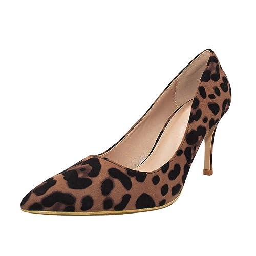 3d220546 uirend Mujer Zapatos de Tacón - Boda Partido de Corte Gamuza Puntiagudo  Estampado de Leopardo Stilettos