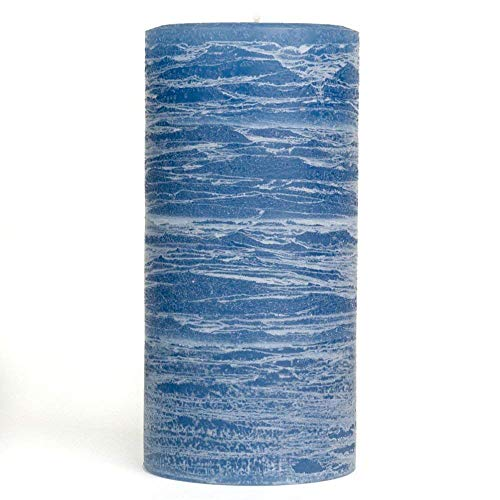 Nordic Candle - Rustic Pillar Candle - 3x6 Inch Denim Blue - Unscented