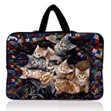 "Cute Cats 11.6"" 12"" Neoprene Laptop Sleeve Case Netbook Hide Handle Bag Pouch Cover For 12"" 11.6"" inch Apple Macbook Air,Samsung Google 11.6"" Chromebook,Acer Aspire S7/Acer C7 Chromebook,HP Dell Acer Thinkpad Sony IBM ASUS,Dell Inspiron 11z 1110,12.1"" Apple iBOOK PC,ASUS Taichi21,Acer Aspire V5,HP EliteBook 2530p,DELL Latitude E6230 XT2 XPS Duo,Lenovo Ideapad"