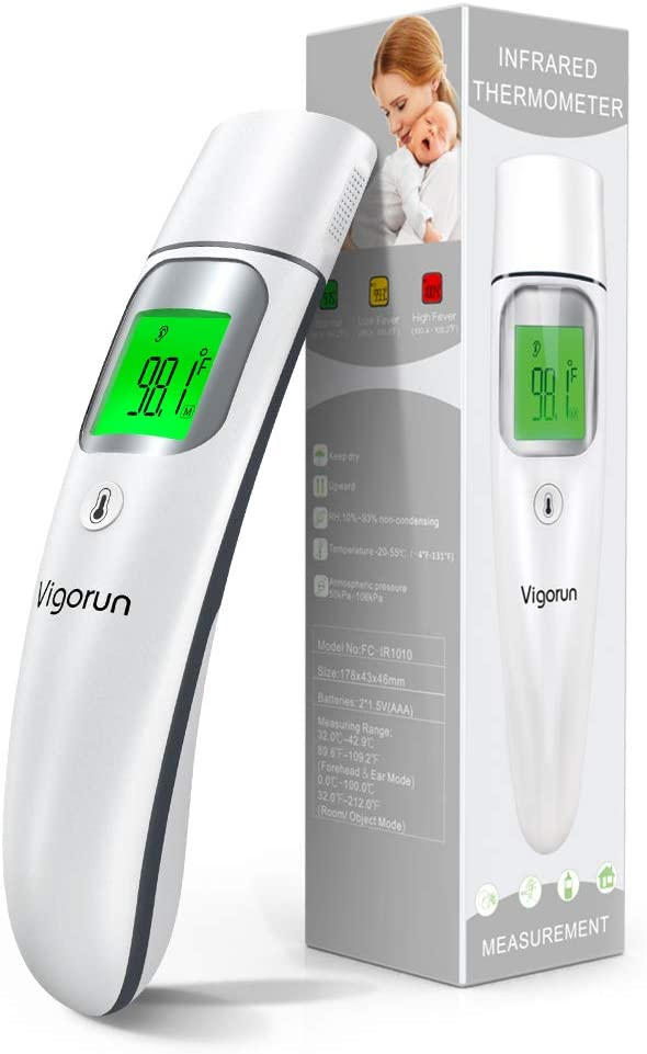【Upgraded】Vigorun Forehead and Ear Thermometer, 5-in-1 Medical Infrared Digital Fever Thermometer with New Algorithm for Best Accuracy, Instant Reading for Infant Baby and Adults