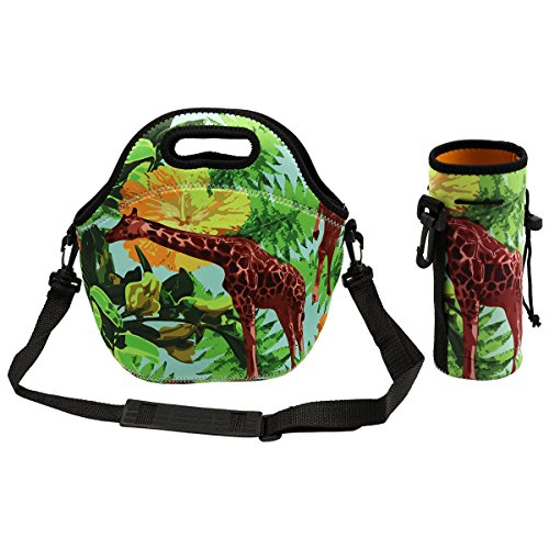 Amerzam Amerzam Neoprene Lunch Bag Insulated Reusable Picnic Thermal Carrying Gourmet Lunch Bags Boxes with Adjustable Shoulder Strap for Men Women Kids Students (Giraffe - Mali Giraffe