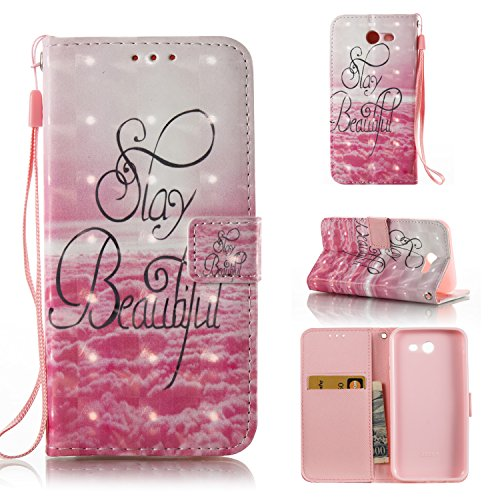 Galaxy J7 Sky Pro Case,HAOTP 3D Beauty Luxury Fashion PU Flip Stand Credit Card ID Holders Wallet Leather Case Cover for Samsung Galaxy J7 V/J7V/J7 Perx/J7 2017 - Beautiful Day