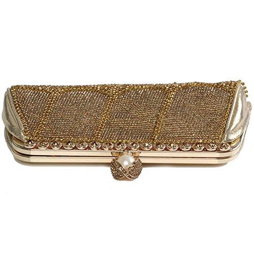 Clutch Fringe Handle Ladies Evening Sparkling Handbag Diamante Wedding Bag Crystals Rhinestones Women's Metallic Gold Shiny wT57tqw