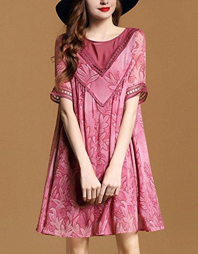 Longueur Du Genou À Manches Courtes Mariée Annie Lâche Mini Robe Casual Pour Les Femmes Rose Rouge