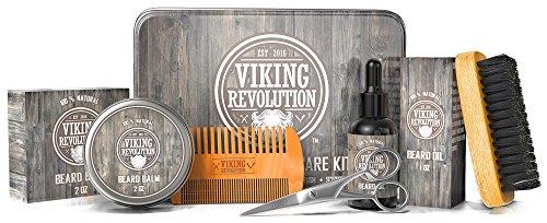 Beard Care Kit for Men - Ultimate Beard Grooming Kit includes 100% Boar Beard Brush, Wood Beard Comb, Beard Balm, Beard Oil, Beard & Mustache Scissors and Metal Gift Box (Original)
