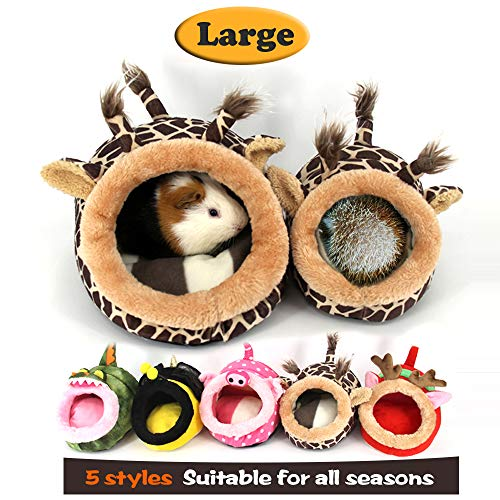 MYIDEA Guinea pig Bedding/Bed Nest - Hedgehog House, Lizard Nest,Squirrel,Chinchillas & Small pet Animals Hideout/Cube, Habitat, Lightweight, Durable, Portable, Cushion Big Mat (L, Giraffe) by MYIDEA
