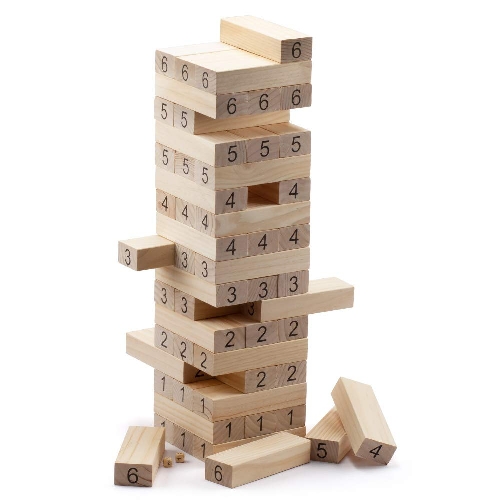 54-Piece Giant Tumbling Timbers. Stacking Game with Dices – 31.5'' Tall (Build to Over 5.25 ft)