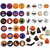 96 PCS Halloween Favors Stickers Sheets, Adhesive Halloween Round Pumpkin Bats Spiders Witch Stickers for Halloween…