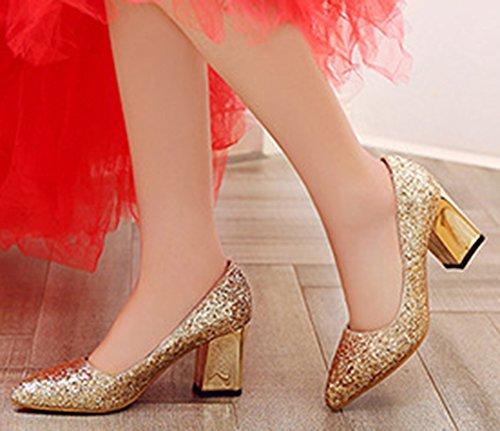Pointed Elegant Toe On Sequined Chunky Pumps Mid IDIFU Gold Heels Womens Slip 7nxqB