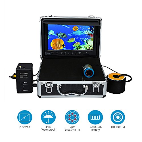 (Eyoyo 9 inch Fish Finder Underwater Fishing Camera 50M 1000TVL CAM Infrared IR LED Lights w/Remote Control)