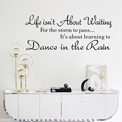 Wall Sticker,IEason Clearance Sale! Life Isn't About Waiting Wall Stickers Quote Dancing in rain Wall Decal Words (Christmas Decorations Sale Clearance)