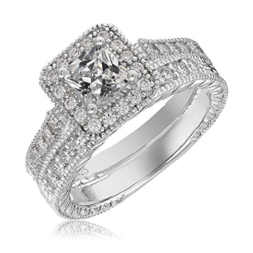 Mars wings Sterling Silver Platinum-Plated Elegant Cut CZ Diamond Engagement Wedding Ring Set 2pcs(New) by Mars wings