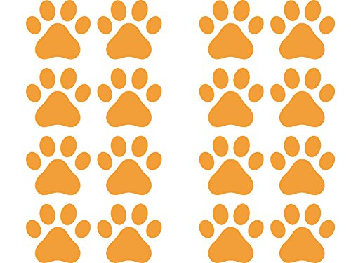 Dog Paw Prints - Matte Finish Vinyl Decal Sticker for Walls, Electronics (Color Variations Available) (16, - Matte Finish Orange
