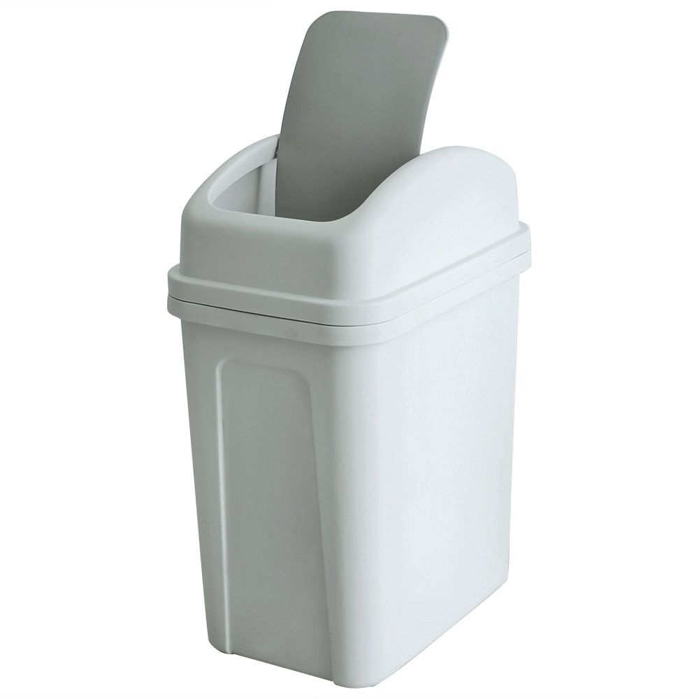 Teyyvn 7 Liter / 1.8 Gallon Plastic Trash Can, Small Garbage Can with Swing Lid (slightly grey)