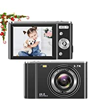 toberto HD Digital Camera, 2.7K Vlogging LCD Mini Camera with 16X Zoom 44MP 2.7K Digital Point and Shoot Camera Video Camera, Indoor Outdoor for Kids Students Beginners