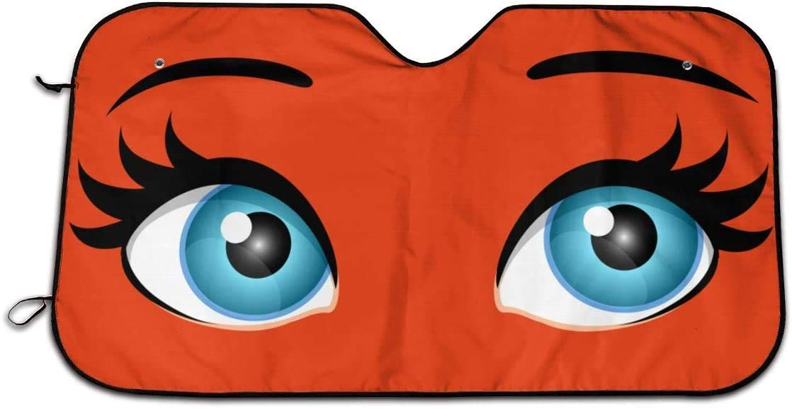 51.2 X 27.5 Cute Cartoon Eyes Front Windshield Sun Shade,Portable Universal Car Sun Shade with Suction Cups Design Windshield Fits for SUV Trucks All Vehicles,Keeps Your Vehicle Cool