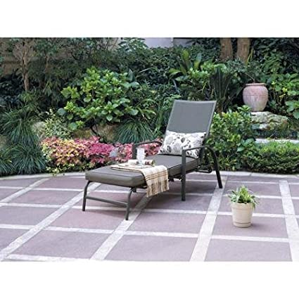 Mainstays Alexandra Square Chaise Patio Lounge Gray Chair, Gray Texture  With Leaf Design Durable,