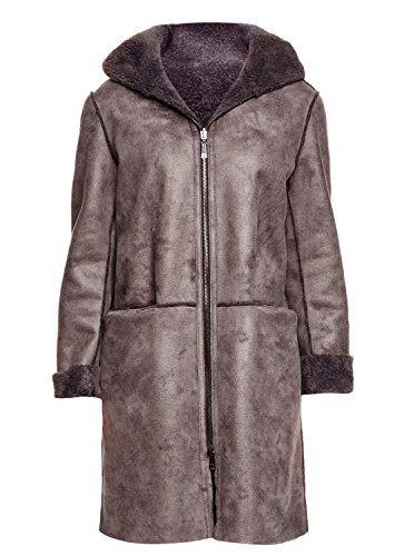 Dl2 By Dawn Levy Women's Teddy Gray Shearling Reversible Basic Hooded Coat (XL)