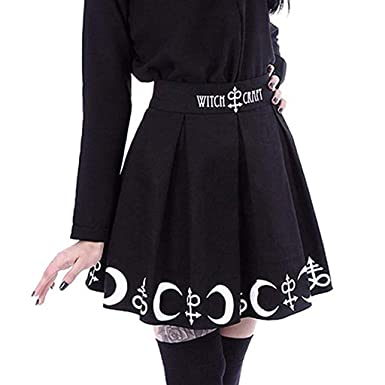 570e57e6c7 Amazon.com: Women A-Line Short Skirts Gothic Punk Witchcraft Moon Magic  Spell Symbols Pleated Mini Skirt: Clothing