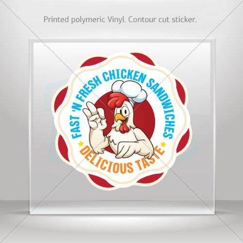 Decals Decal Restaurant Decor Fast And Fresh Chicken Sandwiches Motorbike Wea (12 X 12 In)