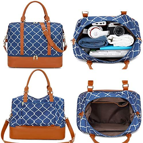 BLUBOON Weekender Bag Women Ladies Travel Duffle Bag with Shoe Compartment Overnight Carry-on Tote in Trolley Handle (Geom Blue)