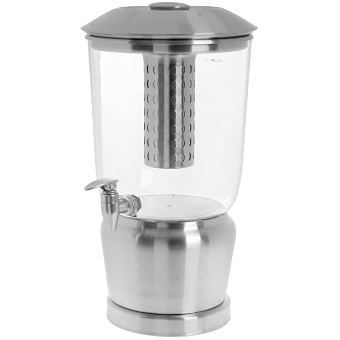 TableCraft Large 5 Gallon Drink Dispenser with Fruit Infuser & Stand | BPA Free | Tritan Stainless Steel | Cold Beverage Dispenser for Catering, Buffet or Home Use