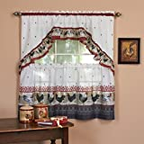 3pc Burgundy Grey Ornate Rooster Kitchen Tiers Swag Set 57x36, Red Color Chicken Kitchen Curtains Log Cabin, Lodge Cottage Window Treatment Morning Country Themed Traditional Rustic Polyester