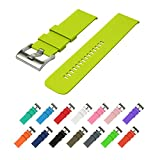 Wearable4U Quick Release Silicone Rubber Watchbands 18mm, 20mm, 22mm and choice of 15 colors (Lime, 18 mm)