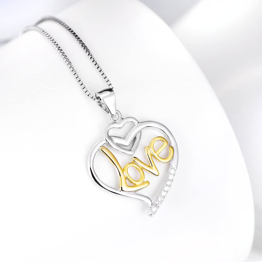 Gold-Plated Sterling Silver Cubic Zirconia Cursive Love Heart Pendant Necklace 18 inches