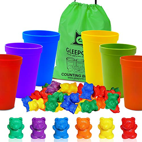ounting Bears with Coordinated Sorting Cups | Montessori Sorting, and Counting Toy | Educational for Toddlers and Children (67 Pcs Set) | 60 Bears | 6 Cups | Storage Bag ()