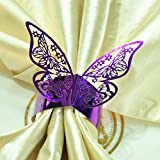 Culturemart 50pcs/lot Purple Butterfly Design Table Paper Napkin Rings for Wedding Party Decoration