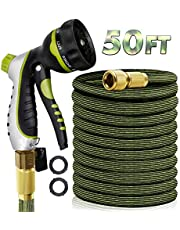 "RioRand Garden Hose Water Hose Expandable Hose 50FT Lightweight Flexible Durable Expanding Water Hose with 8 Pattern Spray Nozzle,3/4"" Solid Brass Connector Garden Hose Pipe for Irrigation,Cleaning (50FT)"
