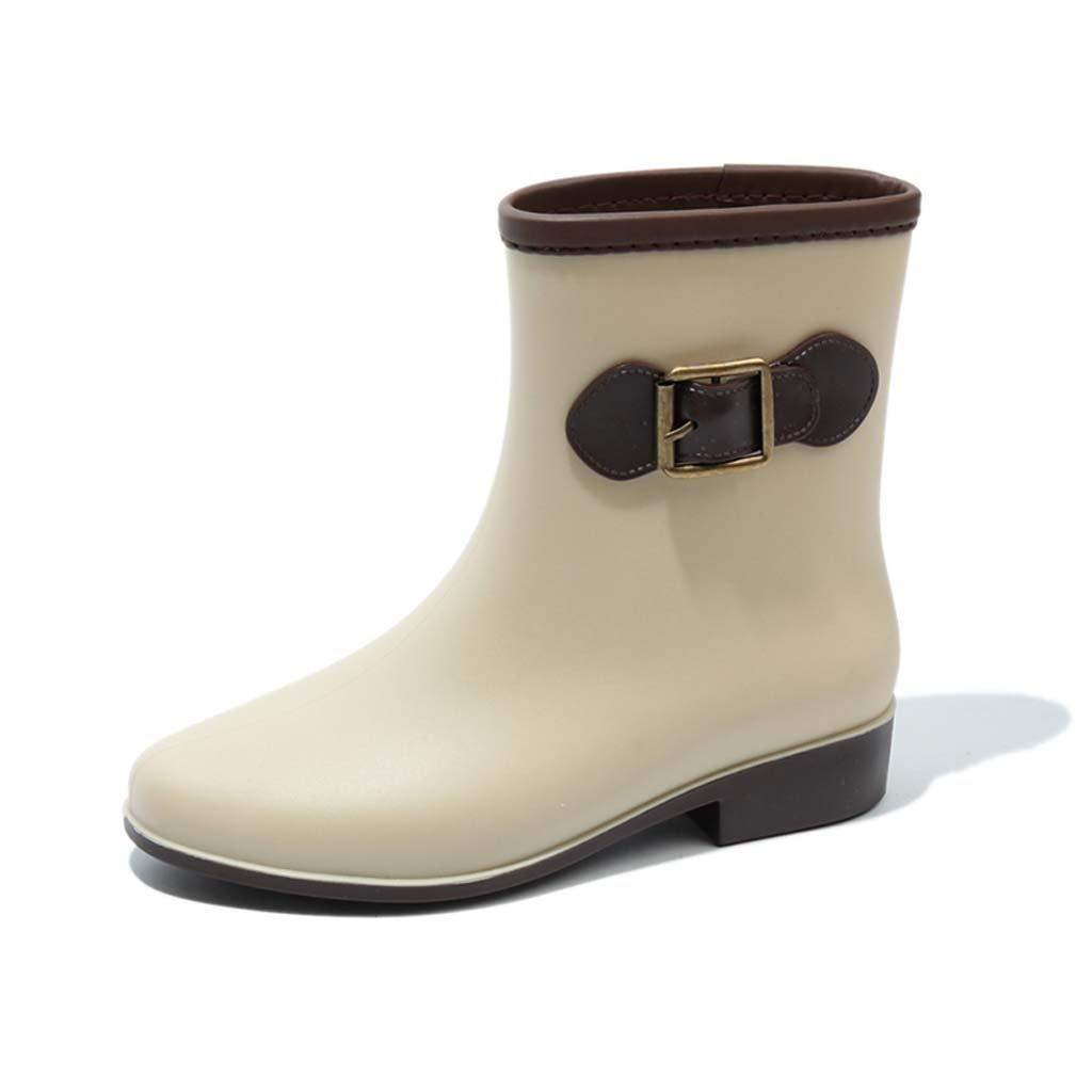 Botas De Mujer Para Adultos Martin Zapatos De Mujer En El Tubo Botas Zapatos Impermeables Cortos Zapatos Resistentes Al Deslizamiento Del Tubo,Beige,36 36
